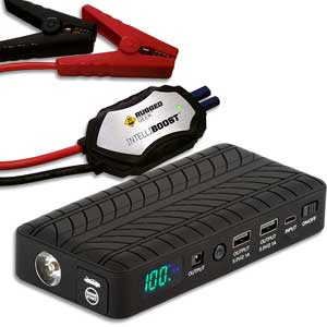 Pocket-size jump starter with air-compressor.